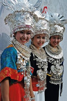 Beautiful Miao girls and their shining silver accessories!  China  | China photo