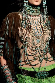 Gaultier couture dress ... love the beads but where is the top of the dress?