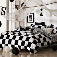 Classical black and white cotton Bedding set home textile bed linen Duvet cover Bedclothes Queen Siz
