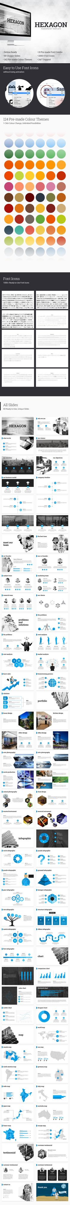 Hexagon - PowerPoint Template - Business #PowerPoint Templates Download here: https://graphicriver.net/item/hexagon-powerpoint-template/18923424?ref=alena994