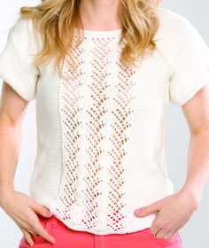 Free Knitting Pattern for Lacy Tee - Short-sleeved pullover with lace front panel in an 11 stitch 8 row repeat on a reverse stockinette. Sizes: X-Small (Small, Medium, Large, X-Large)