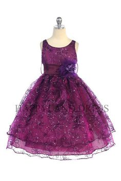 - Girls Dress Style Organza Sleeveless Dress with Sequin Embroidery - Beaded Dresses - Flower Girl Dress For Less Plum Flower Girl Dresses, Purple Flower Girls, Purple Flowers, Pageant Dresses, Quinceanera Dresses, Girls Dresses, Beaded Dresses, Baby Dresses, Organza Flowers