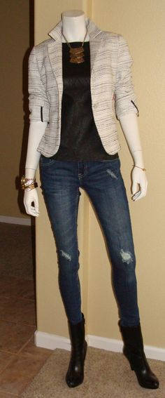 Daily Look: CAbi Fall '13 Fleather Shell and Static Jacket with torn jeans and booties.