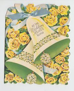 Vintage bell ribbon heart flowers wedding congratulations greeting vintage yellow roses bells blue ribbon wedding congratulations greeting card ebay m4hsunfo