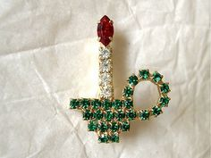Vintage Christmas brooch Christmas candle in by CostumeConsortium