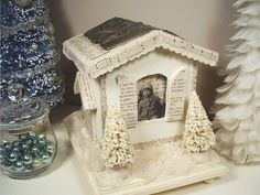 mixed media winter cottage