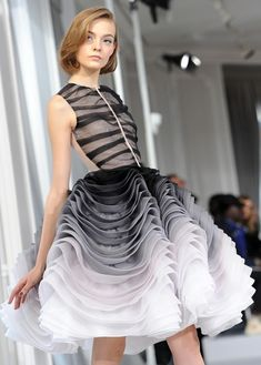 from Christian Dior Couture Show in Paris #ombre #ruffles #partydress