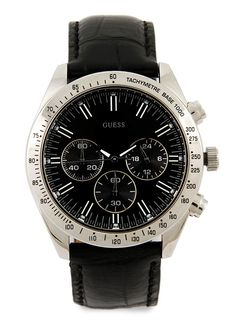 Black Chronograph 12004G1 Watches by Guess. Made from genuine leather strap and stainless steel body, this masculine watch from guess with black color, analog, adjustable buckle fastening and waterproof.  http://zocko.it/LDEvH