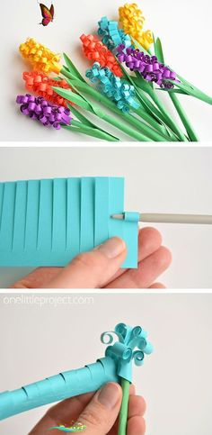 How to Make Paper Hyacinth Flowers   -  Paper Crafts #wohnzimmerideen #livingroomdecoration #livingroomdecor<br> Diy Bouquet, Spring Bouquet, Paper Flowers Diy, Flower Crafts, Craft Flowers, Flower Svg, Origami Flowers, Old School Art, Diy Happy Mother's Day