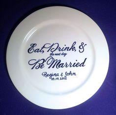 Wedding Guest Book Alternative Rehearsal Dinner Signature Plate. $58.00, via Etsy.