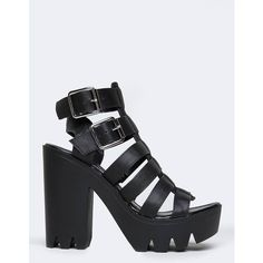 Crank-01 Sandals ($44) ❤ liked on Polyvore featuring shoes, sandals, black, black strap sandals, black strappy shoes, caged sandals, black platform sandals and qupid sandals