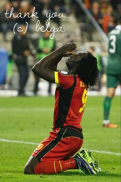 15/10/2013: Belgium's Romelu Lukaku kneeling during a soccer game between Belgian national team The Red Devils and the Wales national team at the Koning Boudewijn Stadion - Stade Roi Baudouin in Brussels, the last qualification game for the 2014 FIFA World Cup. The Red Devils are qualified for the 2014 FIFA World Cup in Brazil as group leader. (Bruno Fahy)