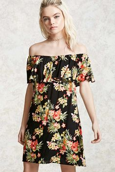 A woven mini dress featuring an allover tropical floral print and an elasticized flounce-layered off-the-shoulder neckline.