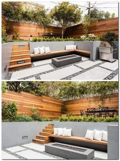 On the lower level of this modern backyard, there's custom-colored concrete walls with a built-in wood bench that fits into the corner and sits beside the firepit. On the ground, pavers are surrounded by riverstone, while wood stairs lead to the up Backyard Patio Designs, Small Backyard Landscaping, Modern Landscaping, Concrete Backyard, Hillside Landscaping, Backyard Seating, Seating Area In Garden, Backyard Sitting Areas, Sunken Patio