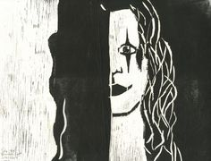 Brandon Lee (Black) Woodcut by Niina Niskanen Watercolor Paintings Nature, Watercolor Animals, Original Artwork, Original Paintings, Brandon Lee, Black White Art, Paintings For Sale, Wall Art, Illustration
