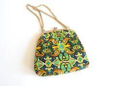 Vintage 1960s Paisley Purse Gold Chain Shoulder by VintageZipper