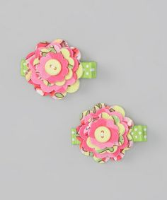 Take a look at this Pink Paisley Flower Button Clip Set by Swag on #zulily today!