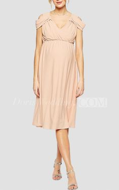 Elegant Ruched V Neck Knee Length Jersey Short Dress With Empire Waist #short #pink The perfect bridesmaid dress awaits you among thousands of chic styles, dozens of beautiful fabrics and over 30 unique color options. #DorisWedding.com