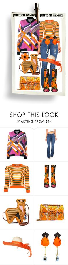 """candy corn top!"" by caroline-buster-brown ❤ liked on Polyvore featuring Roseanna, Courrèges, Balenciaga, FOSSIL, Gucci, Marni and patternmixing"