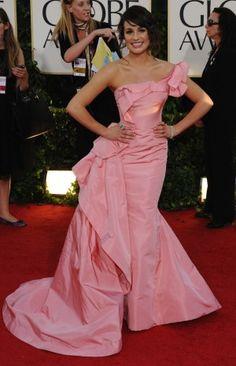 Lea Michele Pink Prom Dress Golden Globe Awards 2011 Red Carpet Dress