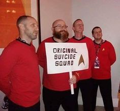 #SundayFunnies Don't know who these #cosplayers are but if you do tag them in the comments!  #StarTrek #SuicideSquad #RedShirt #Ensign #DeadManWalking