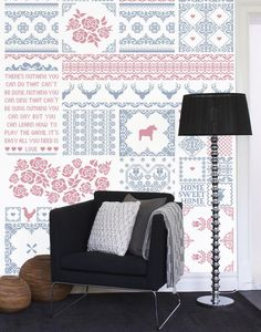 Mr Perswall wallpaper - Art of Stitchwork  www.mrperswall.se  www.mrperswall.com