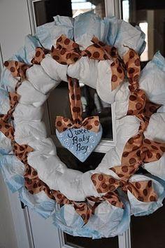 Baby Boy Diaper Wreath for Baby Matt Baby Shower Diapers, Baby Boy Shower, Baby Shower Gifts, Baby Showers, Baby Decor, Baby Shower Decorations, Diaper Wreath, Baby Crafts, Baby Love