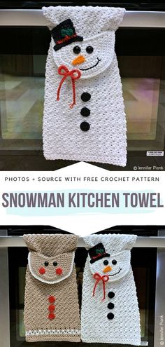 Snowman Kitchen Towel Free Crochet Pattern Cotton yarn and a few basic stitches . Snowman Kitchen Towel Free Crochet Pattern Cotton yarn and a few basic stitches – that`s all you Crochet Christmas Decorations, Crochet Christmas Gifts, Christmas Applique, Crochet Decoration, Crochet Gifts, Christmas Ornaments, Knitted Gifts, Knitted Baby, Christmas Bells