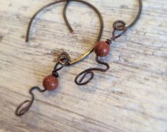 Hammered Copper Hoop Earrings, Hoop Earrings, Copper Hoops, Handmade in USA, OOAK Earrings, Oxidized Hoops, Goldstone, Statement Earring