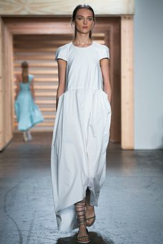 A look from the Tibi Spring 2015 RTW collection. It's a bag dress!!