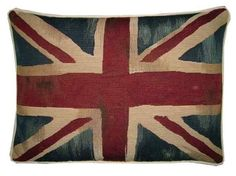 Vintage Union Jack British Flag Tapestry Cushion Pillow $55 from etsy - love the painted look