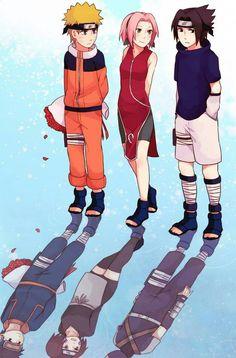 Team Minato & Team 7 parallel each other. Naruto likes Sakura and Sakura likes Sasuke. Obito likes Rin and Rin likes Kakashi. Naruto Team 7, Naruto Uzumaki Shippuden, Naruto Shippuden Sasuke, Naruto Kakashi, Anime Naruto, Naruto Comic, Naruto Cute, Team Minato, Hinata