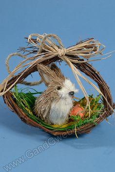 """4.5"""" RABBIT IN BASKET NATURAL BROWN/GREEN, GandGwebStore.com has a wide variety of straw rabbits for all your decorative needs. Tenemos una amplia variedad de conejos de paja para todas sus decoraciones."""