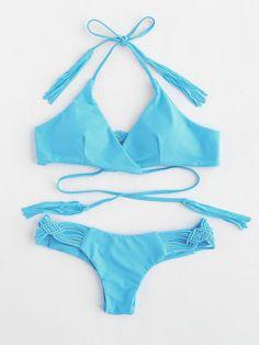 ¡Cómpralo ya!. Woven Strap Ruched Detail Bikini Set. Blue Bikinis Sexy Vacation Halter Top Polyester YES Swimwear. , bikini, bikini, biquini, conjuntosdebikinis, twopiece, bikini, bikini, bikini, bikini, bikinis. Bikini de mujer de SheIn.