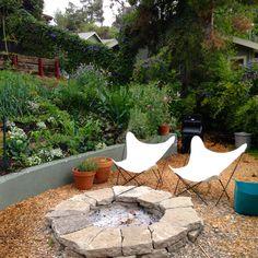 Urbanite Fire Ring. Hillside vegetable garden -design & build by Larry Santoyo