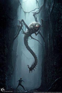 Lembrar de criar algo relacionado a uma criatura gigante, de preferência artrópode, que habita corredores, podendo ou não fazer parte de labirintos. Será uma criatura única ou raríssima, e insanamente perigosa.
