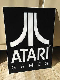 altes Atari Logo Leuchtkasten Schild Display 2000 Reklame 80er 90er Jahre Retro