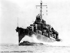 USS Nicholas (DD-449) Fletcher-class destroyer in October 1943. (google.image) 8.17