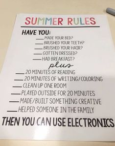 This is such a cute and SMART idea for kids during the summer to be sure they do the necessary stuff BEFORE getting on their phones and tablets. #momhacks #lifehacks