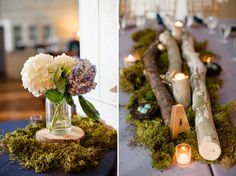 Love these centrepieces! Will just change the moss to sand & use driftwood with shells!