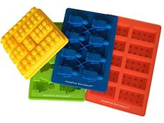 Building Bricks and Figures Silicone Candy Molds  Lego Style PREMIUM 4 Piece Party Set  Make Ice Cubes Cake Toppers Chocolate Fondant Fruit Juice Gummies Healthy Snacks Jello Crayons Soap Candles  Fantastic Party Favors and Birthday Fun ** You can get more details by clicking on the image. (Note:Amazon affiliate link)