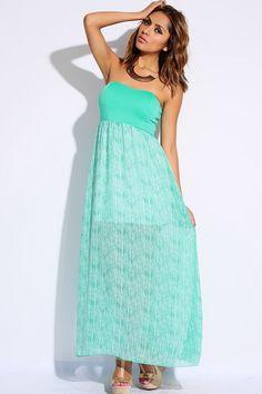 #clubwear21.com #dress #fashion mint green striped chiffon strapless summer evening maxi dress-$35.00