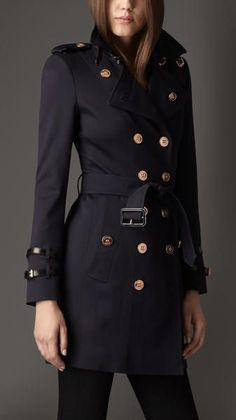 Burberry Blue Midlength Leather Detail Faille Trench Coat