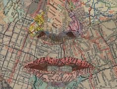 #MysteriousMaps map collages Really painstaking cutting and pasting to make facial features.