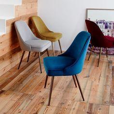 Mid-Century Upholstered Dining Chair - Velvet