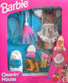 1996 Barbie Cleanin' House Dress N Play Set Playset - Vacuum Feather Duster Broom Cleaning Products 409 Spray Bottle Sponge Brush Fashions with Apron Puppy Bow Playing Dog Pet - Arcotoys NIB New SEALED Barbie 1990, Barbie Sets, Barbie Dolls Diy, Doll Clothes Barbie, Barbie Doll House, Vintage Barbie Dolls, Vintage Toys, Barbie Stuff, Barbie Dog