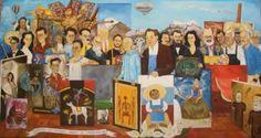 Nosotros Los Hombres Verdes Oleo Original Por  Kinkin Arte $23,361.99 USD Mexico Antigüedades