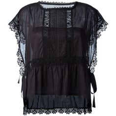 Red Valentino Embroidered Lace Trim Blouse ($327) ❤ liked on Polyvore featuring tops, blouses, black, cotton blouse, lace trim blouse, embroidered top, embroidery blouse and lace trim top