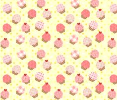 Pink Cupcakes Yellow fabric by jenfur on Spoonflower - custom fabric