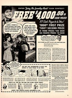 1941 Larry The Laundry Man Original Print Ad Large Single Ad - Between 10 x 13 to 11 x 14 inches, suitable for framing.